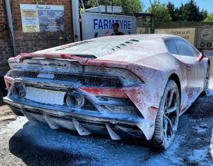 Red Lamborghini in for a Diamond Club Wash