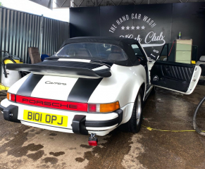 White Porsche 911 Cabriolet in for a Diamond Club Wash